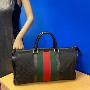 Gucci GG Supreme OPHIDIA BLACK Canvas Boston Bag